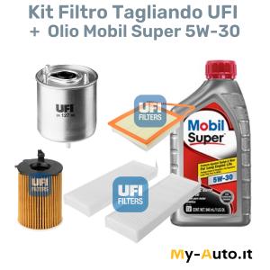kit filtri tagliando + olio mobil super 5W-30