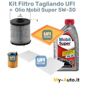 kit tagliando filtri + olio mobil super 5000 5W-30